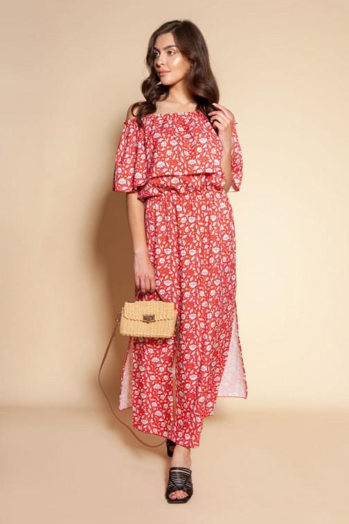 CM6093 Długa sukienka hiszpanka z rozcięciem - czerwony wzór