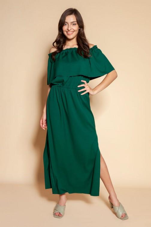 CM6093 Długa sukienka hiszpanka z rozcięciem - zielona