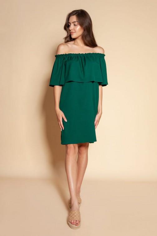 CM6094 Krótka sukienka typu hiszpanka - zielona