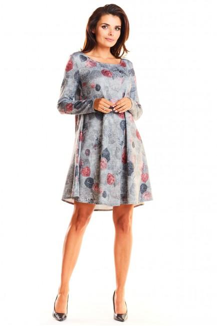 CM3940 Trapezowa sukienka z...