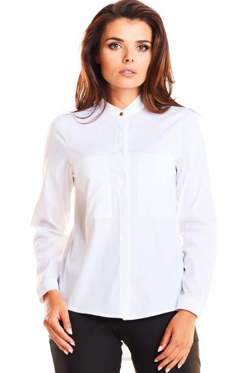 CM3943 Klasyczna dopasowana koszula ze stójką - biała