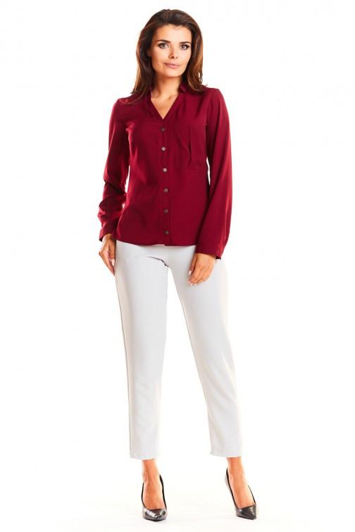 CM3954 Zapinana na guzik koszula z dekoltem karo - bordowa