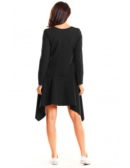 Asymetryczna sukienka rozkloszowana - czarna