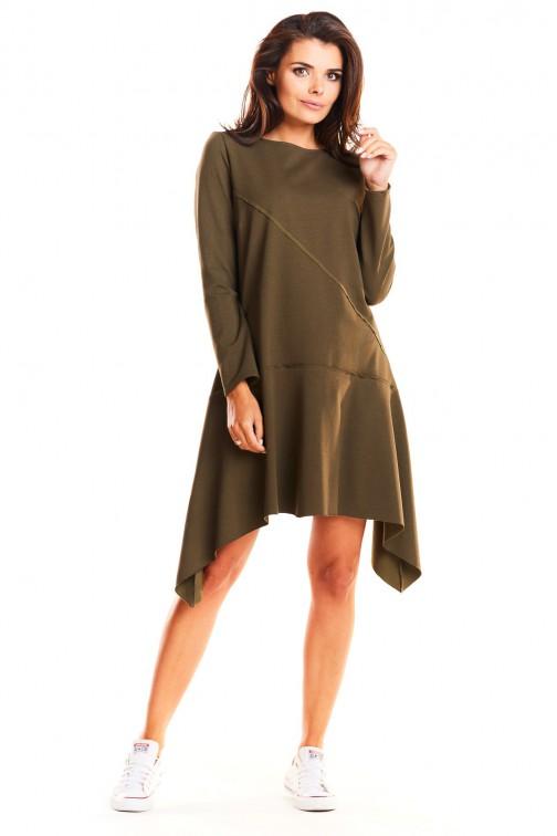 CM3955 Asymetryczna sukienka rozkloszowana - khaki