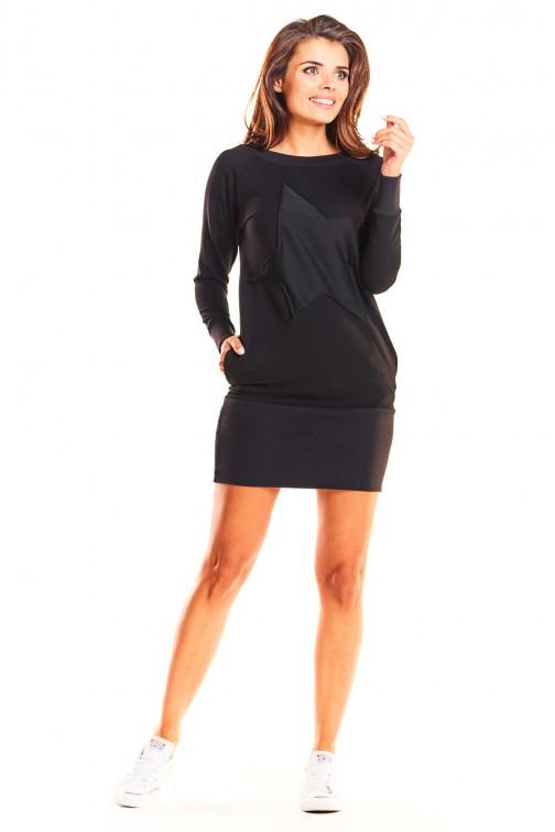 Dresowa sukienka ołówkowa mini z gwiazdą - czarna
