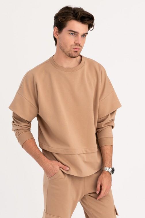 CM6216 Bluza męska z warstwowymi rękawami - orzechowa