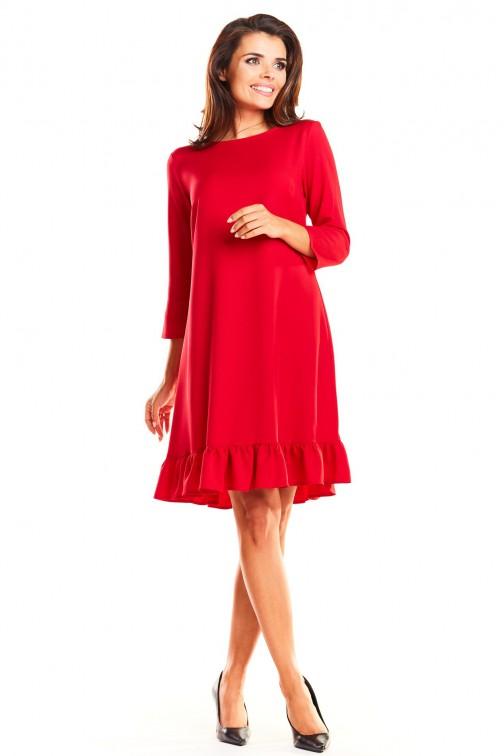 CM3963 Trapezowa sukienka z rękawem 3/4 i falbanką - czerwona