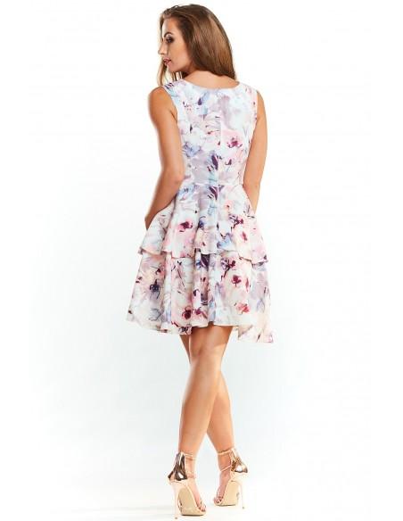 Sukienka w kwiaty z podwójną falbanką