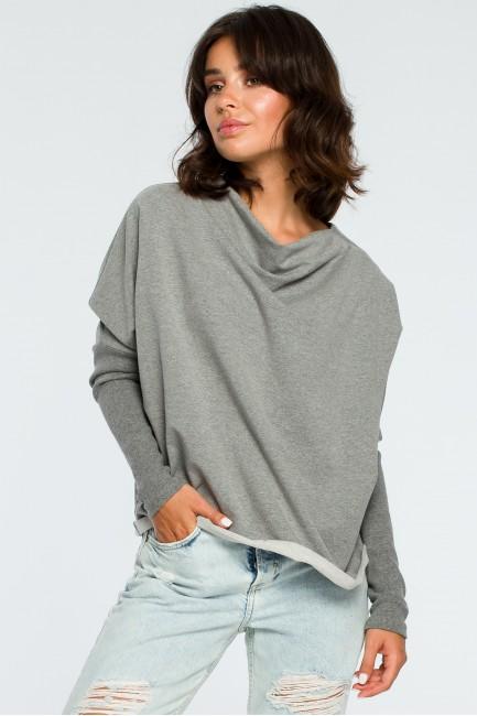 Bluza z dekoltem z tyłu - szara