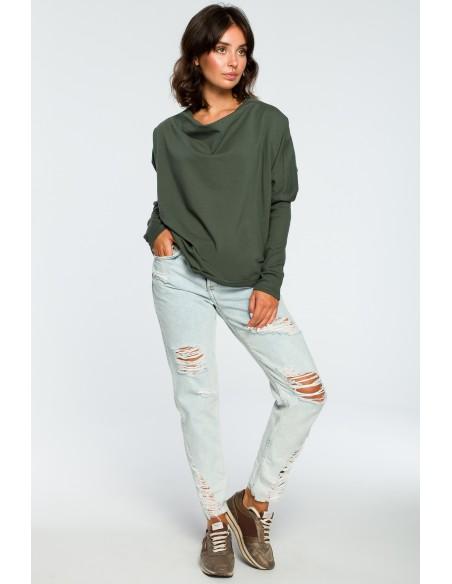 Bluza z dekoltem z tyłu - militarno-zielona
