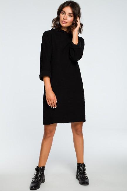 Sukienka z kieszeniami na przodzie - czarna