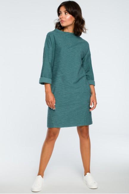 Sukienka z kieszeniami na przodzie - turkusowa