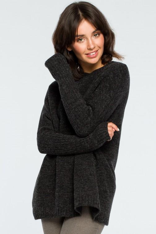 CM3996 Gruby sweter ze ściągaczem w rękawie - antracytowy