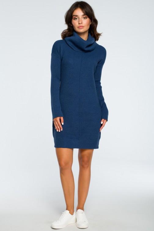 CM3997 Swetrowa sukienka mini z golfem - niebieska