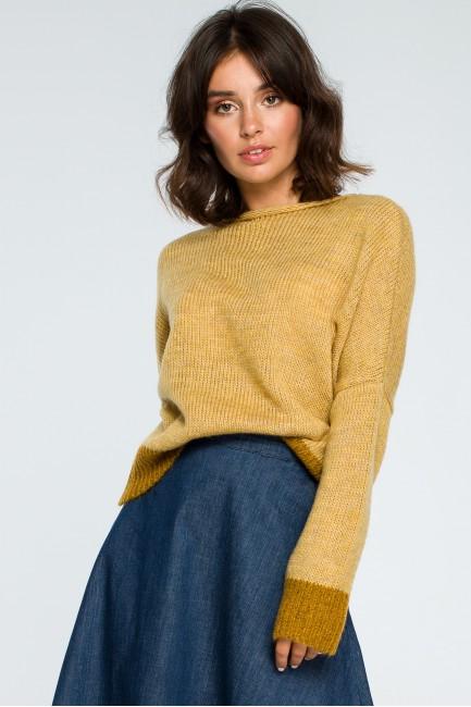 Sweter oversize typu kimono - musztardowy