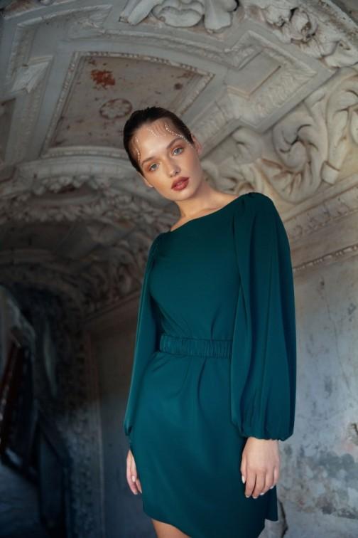 CM6275 Sukienka mini z marszczonym paskiem - zielona