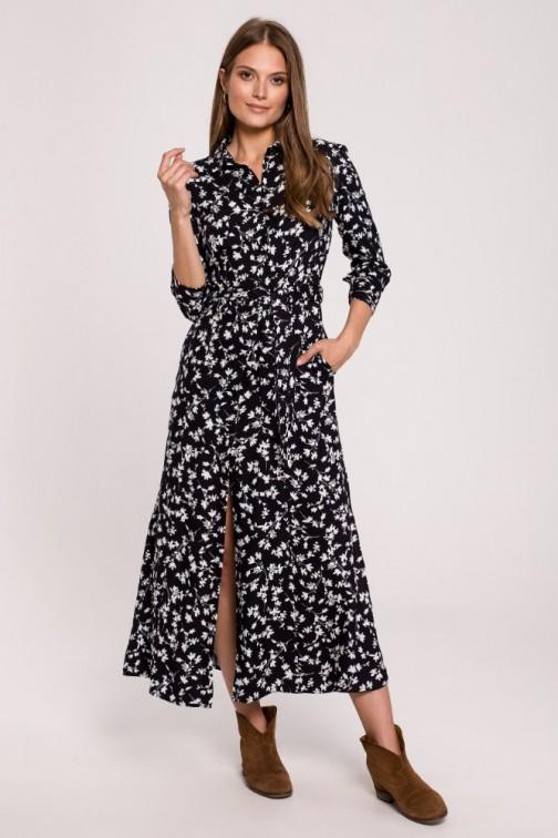 CM6276 Sukienka maxi zapinana na guziki - model 1