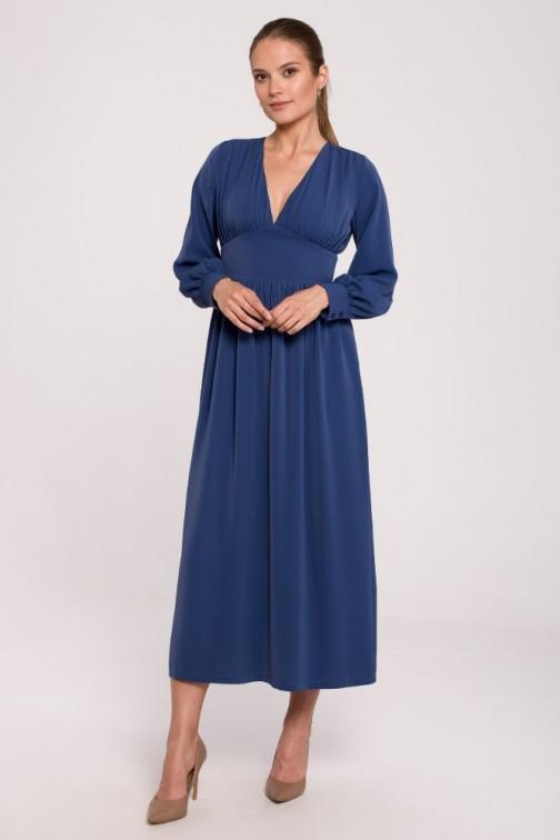 CM6277 Sukienka maxi dopasowana w talii z dekoltem V - niebieska