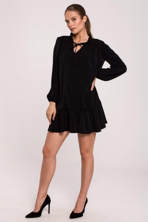 CM6279 Gładka sukienka oversize z falbaną - czarna