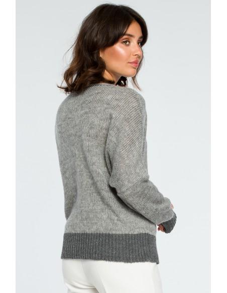 Sweter oversize typu kimono - popielaty