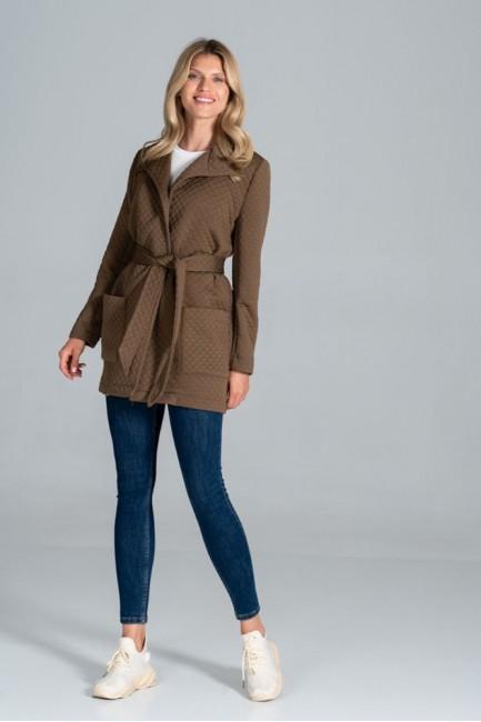 CM6306 Pikowany płaszcz bez...