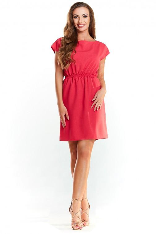 Sukienka ze ściągaczem w talii - różowa