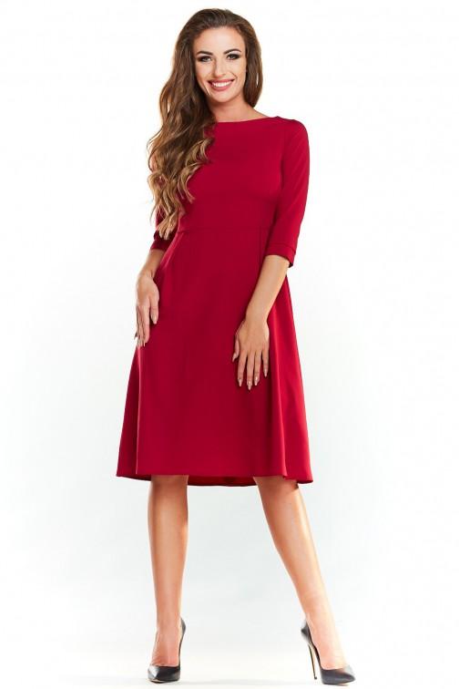 CM3984 Klasyczna trapezowa sukienka - bordowa