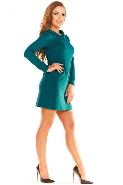 CM3986 Elegancka sukienka mini z krótkim rękawem - zielona