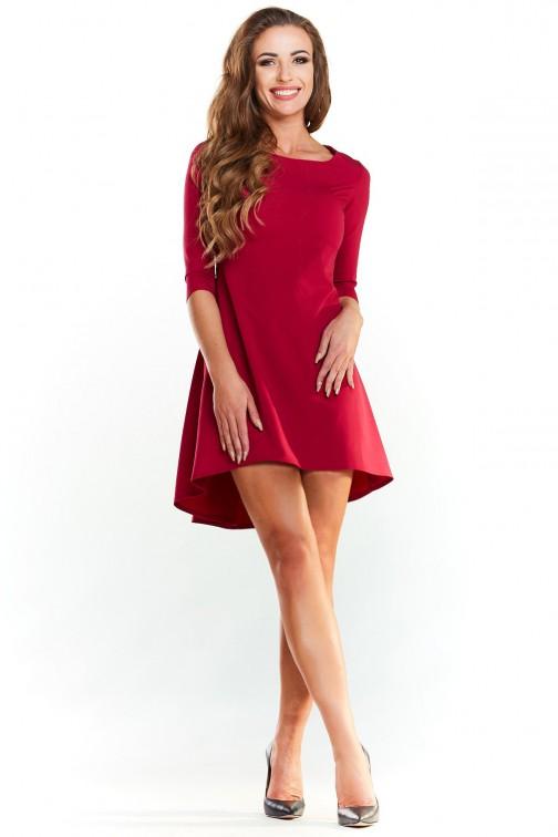 CM3988 Asymetryczna sukienka z rękawem 1/2 - bordowa