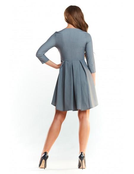 Asymetryczna sukienka z rękawem 1/2 - szara