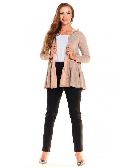 Sweter - narzutka z kapturem - różowy