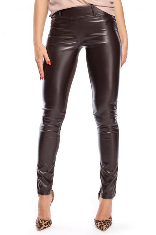 CM0309 Spodnie legginsy przód matowa skóra - brązowe