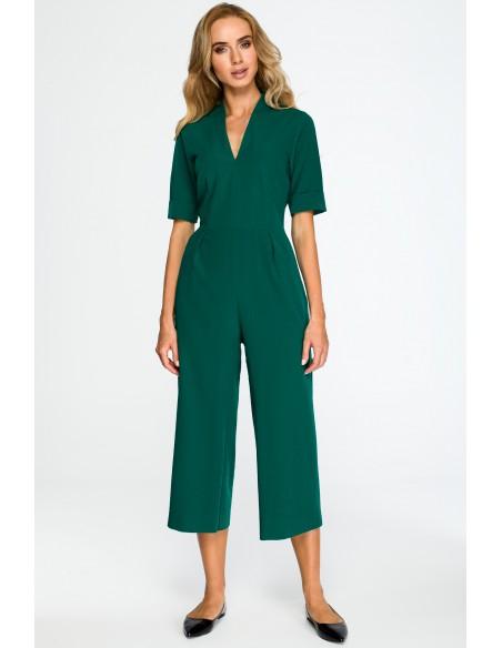 Elegancki kombinezon z szerokimi nogawkami - zielony
