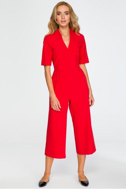 Elegancki kombinezon z szerokimi nogawkami - czerwony