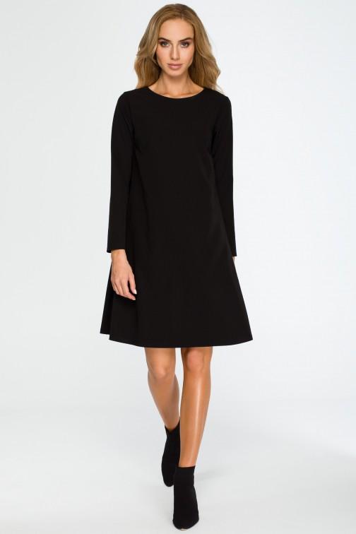 CM4034 Rozkloszowana sukienka mini z długim rękawem - czarna