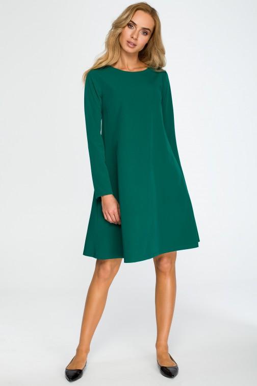 Rozkloszowana sukienka mini z długim rękawem - zielona