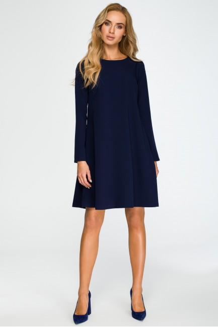 Rozkloszowana sukienka mini z długim rękawem - granatowa