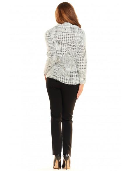 Dzianinowy ciepły sweter - kratka