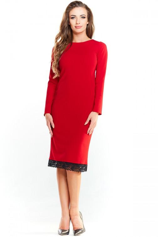CM4038 Dopasowana sukienka z koronką od dołu - czerwona