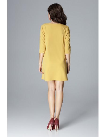 Trapezowa sukienka mini - żółta