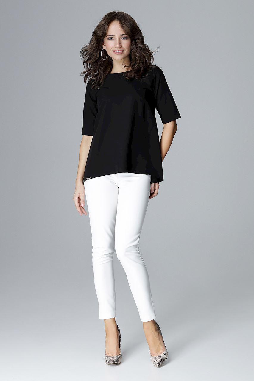 Elegancka bluzka z bufkami i krótkim rękawem czarna