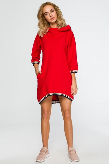 Tunika z kapturem i ściągaczem - czerwona