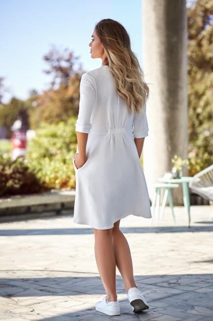 Sukienka z głębokim dekoltem - ecru