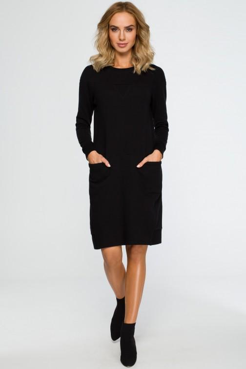 CM4014 Dzianinowa sukienka z karczkiem - czarna