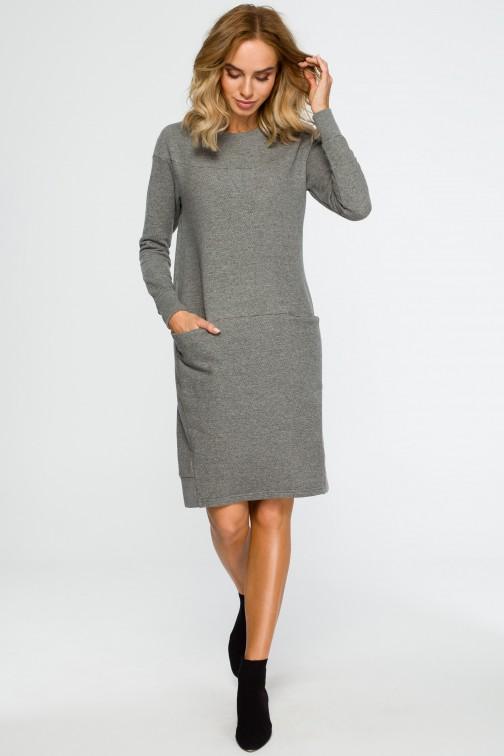 CM4014 Dzianinowa sukienka z karczkiem - szara