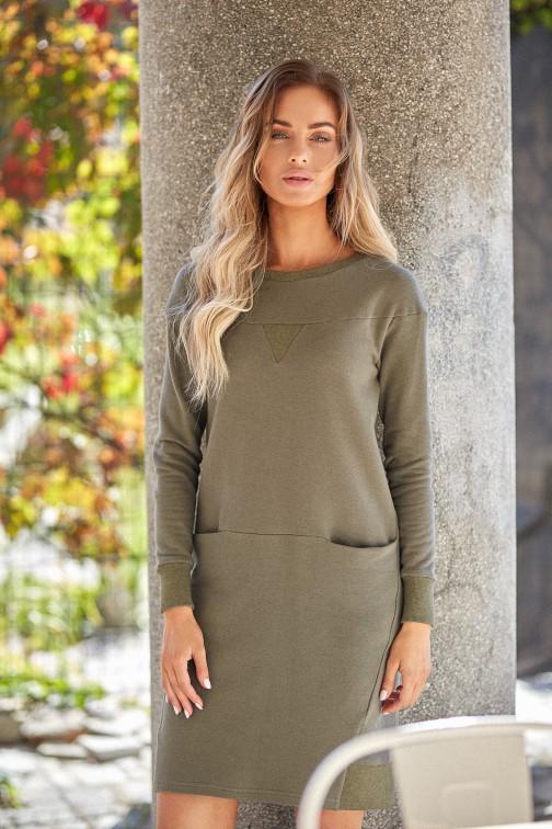 CM4014 Dzianinowa sukienka z karczkiem - khaki