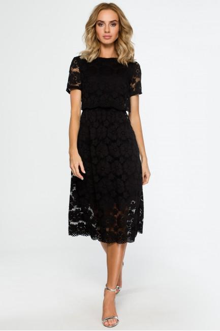 Koronkowa sukienka midi - czarna