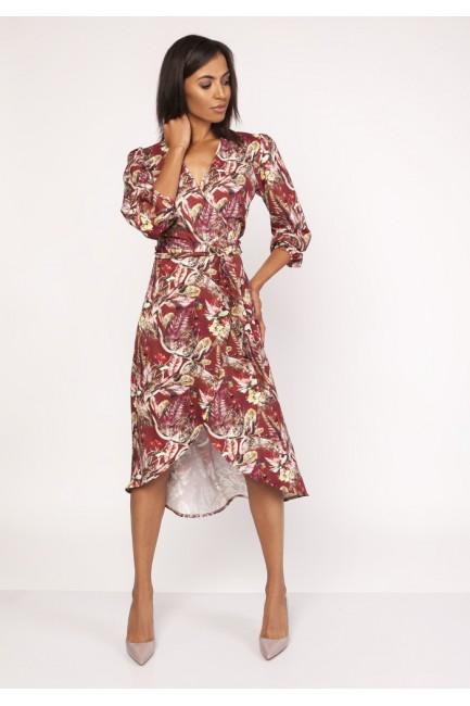 Asymetryczna kopertowa sukienka - wzór