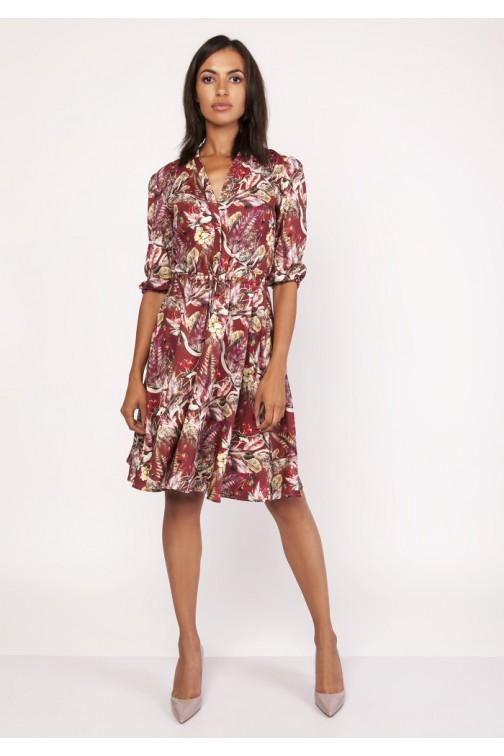 CM4067 Rozkloszowana sukienka z rękawem 3/4 - wzór