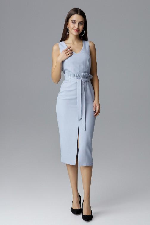 CM4078 Dopasowana sukienka bez rękawów - błękitna